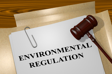 3D illustration of ENVIRONMENTAL REGULATION title on legal document