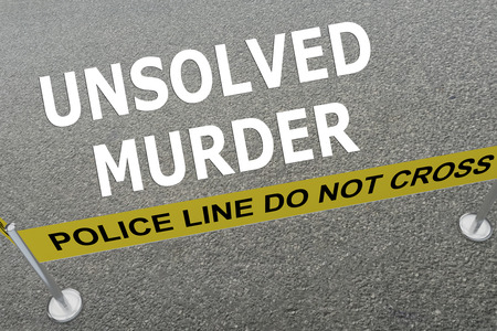 unanswered: 3D illustration of UNSOLVED MURDER title on the ground in a police arena Stock Photo
