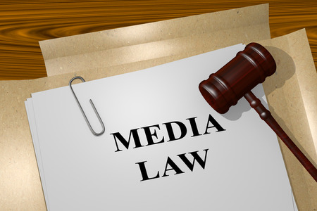 authorship: 3D illustration of MEDIA LAW title on Legal Documents. Legal concept.