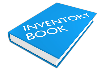 accountancy: 3D illustration of INVENTORY BOOK script on a book, isolated on white. Stock Photo