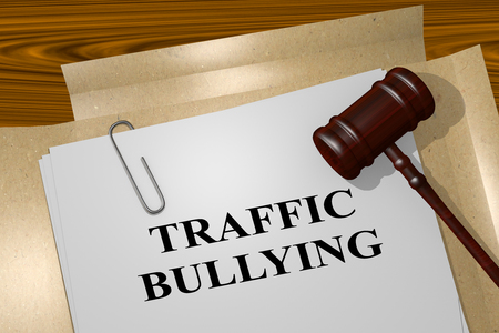 intimidating: 3D illustration of TRAFFIC BULLYING title on Legal Documents