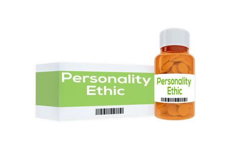 """personalidad: Ilustración 3D del título """"Ética de la personalidad"""" en frasco de pastillas, aislado en blanco."""
