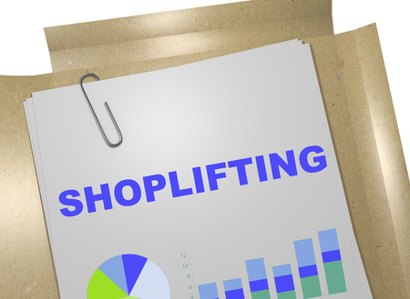 walk through: 3D illustration of SHOPLIFTING title on business document