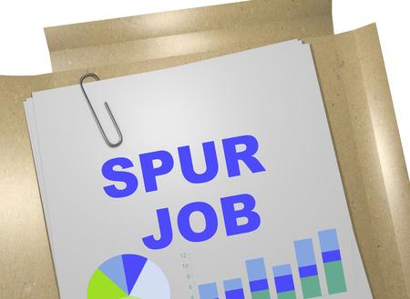 spur: 3D illustration of SPUR JOB title on business document