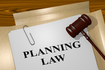 3D illustration of PLANNING LAW title on Legal Documents