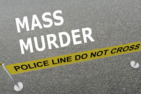 """3D illustratie van """"massamoord"""" titel op de grond in een politie-arena"""