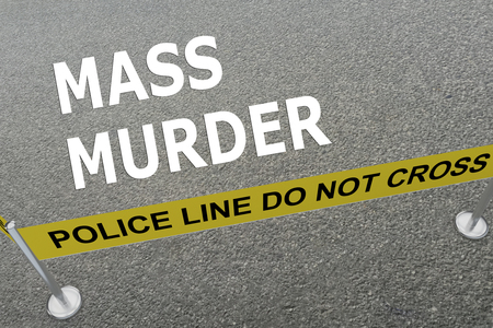 3D illustration of MASS MURDER title on the ground in a police arena Stok Fotoğraf