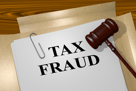 3D illustration of TAX FRAUD title on Legal Documents