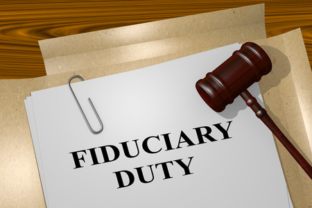 3D illustration of FIDUCIARY DUTY title on legal document Banco de Imagens