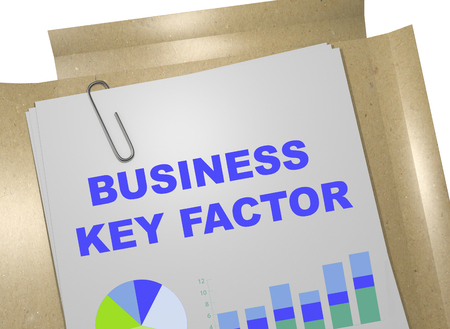factor: 3D illustration of BUSINESS KEY FACTOR title on document Stock Photo