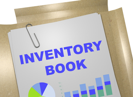 cost basis: 3D illustration of INVENTORY BOOK title on business document. Business concept.