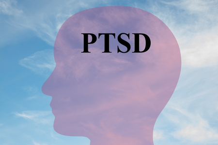 traumatic: Render illustration of PTSD script on head silhouette, with cloudy sky as a background.