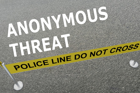 prisoner of war: 3D illustration of ANONYMOUS THREAT title on the ground in a police arena Stock Photo