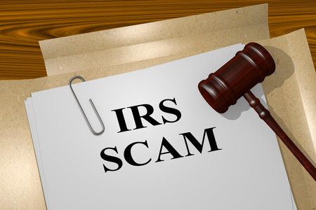 irs: 3D illustration of IRS SCAM title on Legal Documents