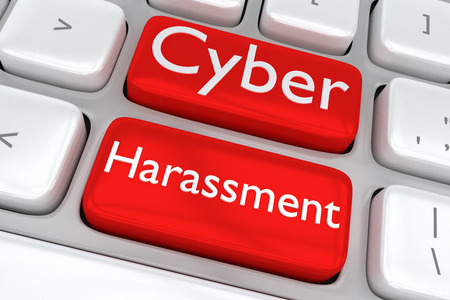 3D illustration of computer keyboard with the print Cyber Harassment on two adjacent red buttons Stock Photo