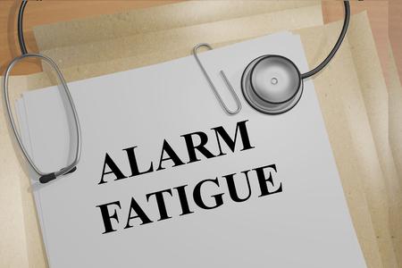 医療文書の「アラーム疲労」タイトルの 3 D イラストレーション