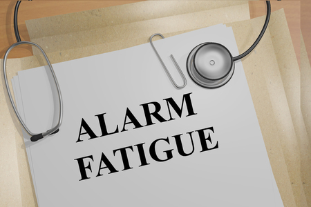 fatigue: 3D illustration of ALARM FATIGUE title on medical document Stock Photo