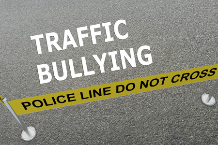 intimidation: 3D illustration of TRAFFIC BULLYING title on the ground in a police arena