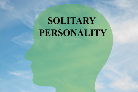 personality: Render illustration of SOLITARY PERSONALITY script on head silhouette, with cloudy sky as a background. Human mind concept.