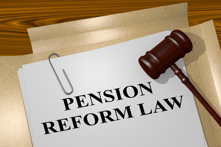 3D illustration of PENSION REFORM LAW title on legal document Imagens