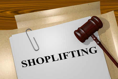 walk through: 3D illustration of SHOPLIFTING title on Legal Documents
