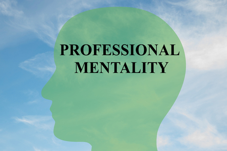 mentality: Render illustration of PROFESSIONAL MENTALITY script on head silhouette, with cloudy sky as a background.