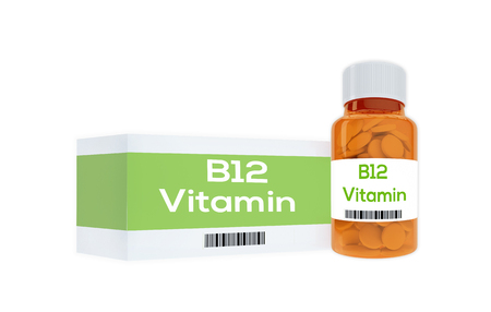 enzymes: 3D illustration of B12 Vitamin title on pill bottle, isolated on white.
