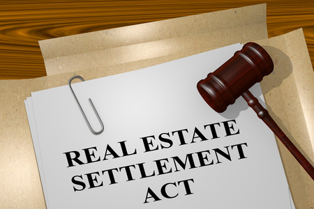 the settlement: 3D illustration of REAL ESTATE SETTLEMENT ACT title on legal document Stock Photo