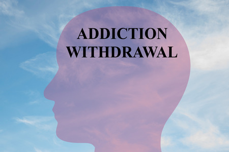 dependence: Render illustration of ADDICTION WITHDRAWAL  script on head silhouette, with cloudy sky as a background.