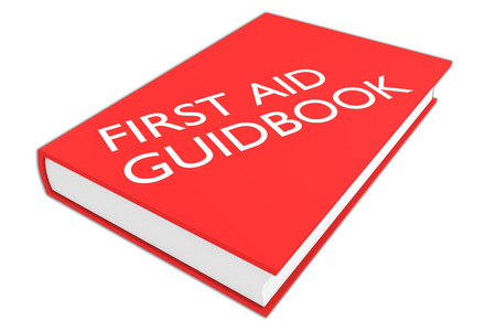 guidebook: 3D illustration of FIRST AID GUIDEBOOK script on a book, isolated on white.