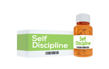 discipline: 3D illustration of Self Discipline title on pill bottle, isolated on white. Human personality concept.