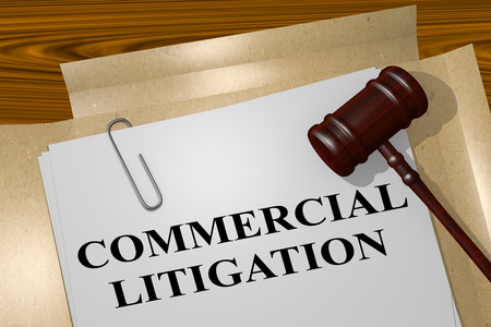 3D illustration of COMMERCIAL LITIGATION title on legal document Фото со стока