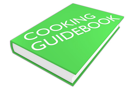 guidebook: 3D illustration of COOKING GUIDEBOOK script on a book, isolated on white.