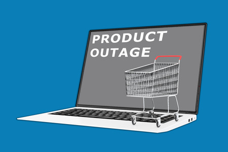 outage: 3D illustration of PRODUCT OUTAGE script with a supermarket cart placed on the keyboard Stock Photo
