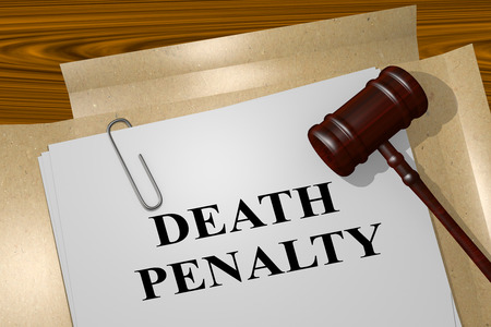 capital punishment: 3D illustration of DEATH PENALTY title on Legal Documents