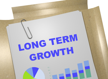 long term: 3D illustration of LONG TERM GROWTH title on business document