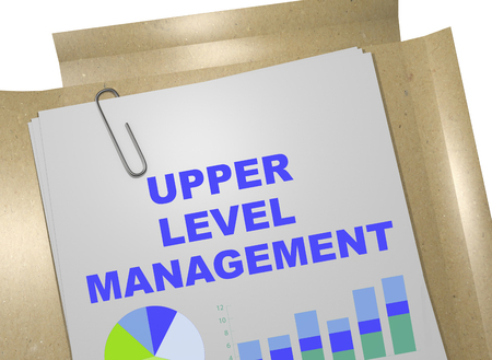 feasible: 3D illustration of UPPER LEVEL MANAGEMENT title on business document