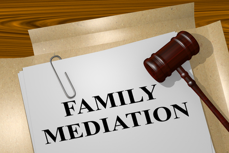 3D illustration of FAMILY MEDIATION title on Legal Documents