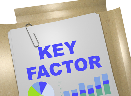 crucial: 3D illustration of KEY FACTOR title on business document