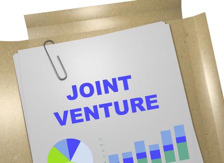 venture: 3D illustration of JOINT VENTURE title on business document