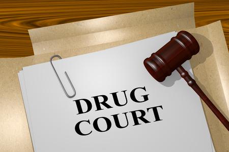 medical bill: 3D illustration of DRUG COURT title on legal document