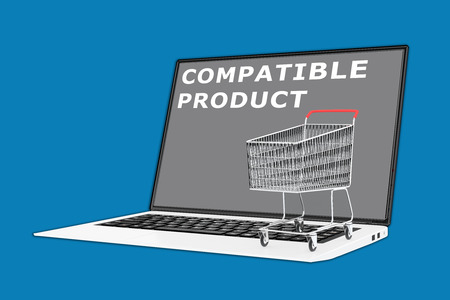 supermarket series: 3D illustration of COMPATIBLE PRODUCT script with a supermarket cart placed on the keyboard Stock Photo