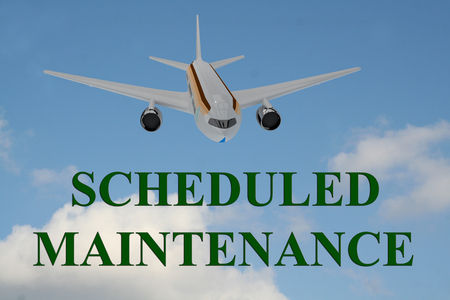 scheduled: 3D illustration of SCHEDULED MAINTENANCE title on cloudy sky as a background, under a landing airplane.