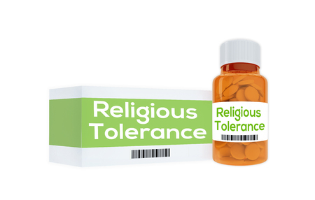 indulgence: 3D illustration of Religious Tolerance title on pill bottle, isolated on white.