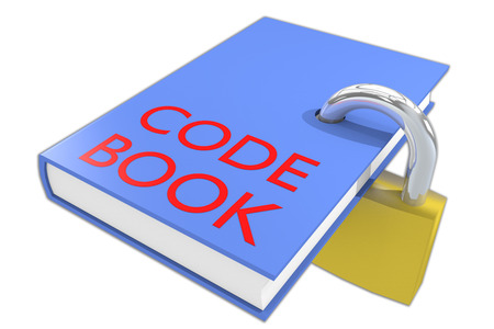 Computer instruction: 3D illustration of CODE BOOK script on a book, isolated on white.