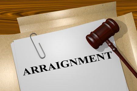 3D illustration of ARRAIGNMENT title on legal document Stock Photo