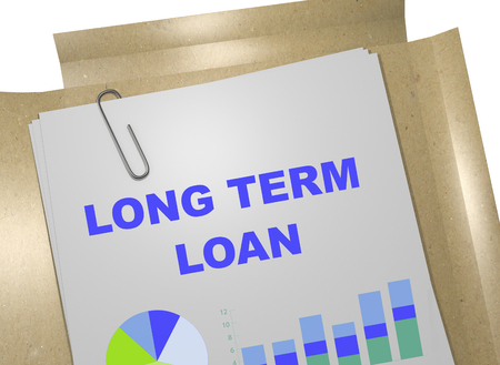 long term: 3D illustration of LONG TERM LOAN title on business document