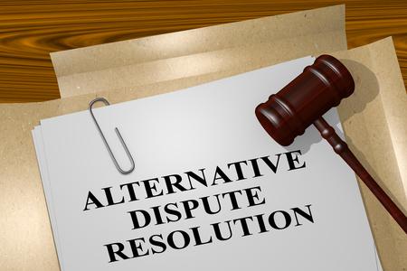 """Ilustración 3D de """"Resolución alternativa de disputas"""" título el documento legal Foto de archivo"""