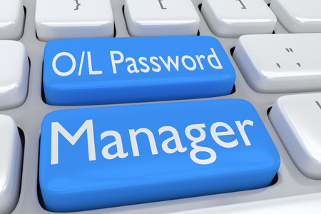 3d manager: 3D illustration of computer keyboard with the script Online Password Manager on two adjacent pale blue buttons