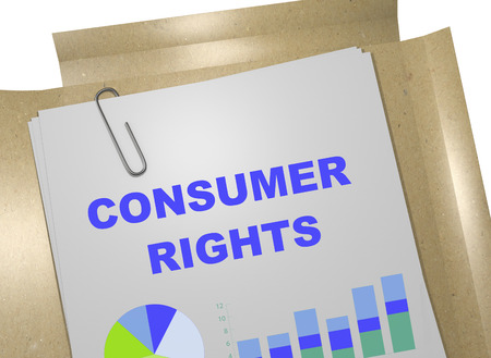 consumer rights: 3D illustration of CONSUMER RIGHTS title on business document Stock Photo